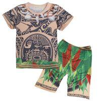 Wholesale Cotton Pajamas Sports - MOANA Summer Children Clothing Set Baby Moana Maui T shirts Sport Suit for Boys Girl T Shirt 2 Pcs Set Clothes Pants Kids Top Tees in stock