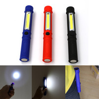 Wholesale Led Blue Magnetic - Black Blue Red COB Led Portable Plastic Light LED Flashlight Torch Lamps With Magnetic Clip Inspection Working Light Camping Outdoor Light