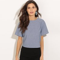 Wholesale Womens Sexy T Shirts - Halter Lace Sexy T Shirt Women Solid Color Cute Fashion Woman Round Neck Tshirt Top Roupa Feminina Punk Womens Clothing 50D0078