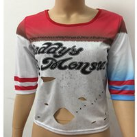 Wholesale Christmas Classics Music - Hot Selling Classic Harley Quinn Daddy's Lil Suicide Squad T-shirts Christmas Halloween Costumes Cosplay Ripped Torn Style Tops S M L XL XXL
