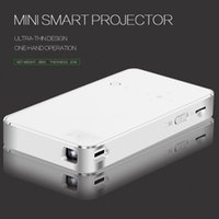 Wholesale Mini Hdmi Amplifier - HD Mini Smart Projector LED Android 4.4 3D Wifi USB HDMI Wireless Home Theater Amplifier White Projectors DLP Wholesale