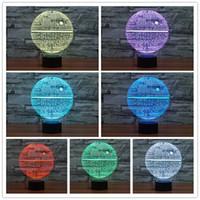 nachtlichtfarben großhandel-Dekoration Weihnachtslicht LED Nachtlicht 3D Optisch 7 Farben Veränderbar USB Touch Acryl Panel Licht für festliche Geschenk
