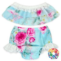 Wholesale Diaper Kids Cute Girls - 2017 INS hot baby girl kids toddler Summer cute 2piece set Lace Rose floral tops shirts vest + tutu shorts pants bloomers diaper covers