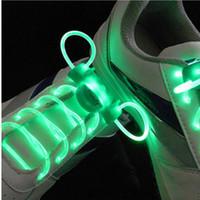 Wholesale Long Black Round Shoe Laces - LED Sport Shoe Laces Flash Light Glow Stick Strap Shoelaces Disco Party Club 1 Pair 80cm long Worldwide sale