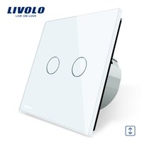 Wholesale Black White Curtain Panels - Livolo Luxury W B G 3 Color Crystal Glass Panel Wall Switch, EU Standard Touch Control led Curtains Switch C702W-1 2 3 5