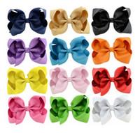 Wholesale Orange Hair Pins - 4.3 Inches Children Bows hair clip Ins girl hair accessories hair pin Christmas kids Boutique grosgrain ribbon Bows barrettes R0756