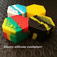 Wholesale bee tools - Nonstick Honeybee wax containers 26ml hexagon honey bee silicone container food grade jars dab tool storage jar oil holder vaporizer