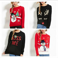 Wholesale womens christmas knit sweaters - Wholesale-Autumn Winter Christmas Sweater Women Sequins Long Sleeve Womens Pullover Knitted Red Sweaters