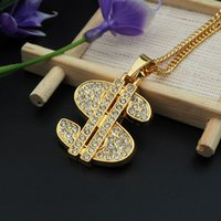 Wholesale Labels For Jewelry - crystal money label $ round pendant necklace hip hop gold plated necklaces with chain jewelry for men or women item number hps029