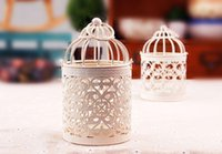 Wholesale White Wedding Metal Lantern - Hollow Lace Metal Bird Cage Decoration Candle Holders Bird Cage Wedding Candlestick Zakka Storm Lantern Wedding Home Decoration
