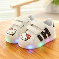 Wholesale Kids Retail Shoes - Retail 2017 New Girls Led Lighted Shoes Kids Cartoon Hello Kitty Luminous Sneakers Cute Girl Casual Shoes Children Sports Sneakers 21-30