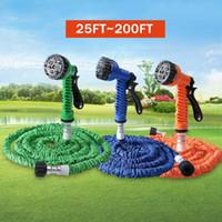 Wholesale Expandable Tube - New 7 in 1 Spray Gun Expandable Garden Hose Latex Tube Magic Flexible Hose 25FT 50FT 75FT 100FT 125FT 150FT 200FT Plastic Hoses
