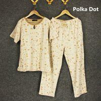 Wholesale Short Pyjamas Women - Cotton ! 2017 New Women Summer PLUS size Plaid Sleep Lounge Pant+ Short sleeve Tops 2 Pieces Lady Pyjama Sets Sleep Wear