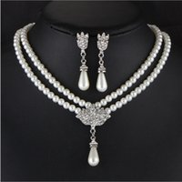 Wholesale Mother Brid - Cheap jewelry sets for brid parties women jewelry crystal sets for evening dresses pearl Jewelry Wedding necklace layers wholesale 2017 new