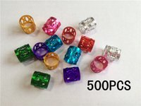 Wholesale Beads Colour - Wholesale-Free Shipping 500Pcs Lot multi coloured hair dread dreadlock Beads adjustable cuff clip approx 8mm hole clip
