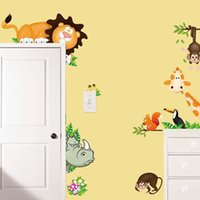 Wholesale Jungle Nursery Wall Murals - 2017 Jungle Animal Kids Baby Nursery Child Home Decor Mural Wall Sticker Decal