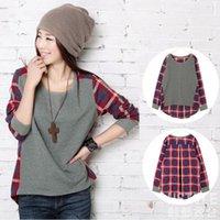 Wholesale Casual Check Shirt Girl - Long Sleeve Women Girl Casual Loose shirt Plaids & Checks Shirt Tops Blouse