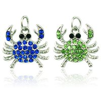 Wholesale Rhinestone Crab - Fashion Charms Alloy Clasp 2 Color Rhinestone Crab Animals Pendants DIY Charms For Jewelry Making Accessories