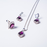 Wholesale Crystal Heart Platinum Necklace - do dower-New Style Round 925 Sterling Purple crystal 925Jewelry Sets For Women Earrings Pendant Necklace Rings 1703