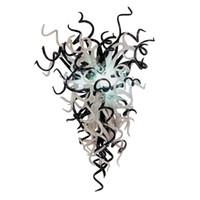 черная стеклянная люстра murano оптовых-Светодиодный источник 100% ручной выдувного боросиликатного стекла Дейл Chihuly Murano Art Черно-белое прозрачное стекло Люстра