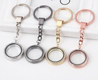 Wholesale Glass Locket Key Chains - Hot Sale 2017 Easter Round Locket Key Chains Glass Living Memory Floating Locket with Rhinestone DIY Accessories for Women Kids
