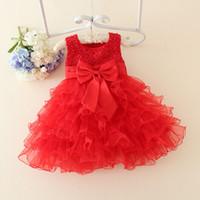 bebek için kırmızı yılbaşı elbiseleri toptan satış-Toptan-Kızlar Için Kırmızı Bebek Noel Elbiseler Dantel İnciler Kız Vaftiz Elbise Bebek Kız Tutu Elbise Çocuk Çocuk Tatil Giyim