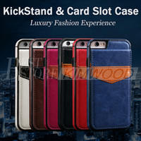 Wholesale Apple Business Credit - Fashion Luxury Multifunction Business Case PU & Leather Cover Pouch Credit Card Slot Kickstand For iPhone 6 7 Plus Samsung Galaxy S7 S6 Edge