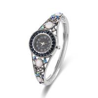 Wholesale Silver Bangel - 2017 Vintage Diamond Watches Pave Blue Swarovski Stone & Cat Eye Alloy Bangel Band Watches Luxury Ladies Watches For Women 61166089