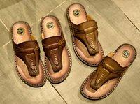 Wholesale Men Cheap Walking Shoes - Hot 2017 new men sandals summer lightweight comfortable casual walking shoes 100% Genuine Leather men sandals shoes cheap sale!