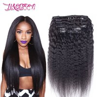Wholesale brazilian body wave clip hair extensions for sale - Brazilian Virgin Human Hair Kinky Straight Clip In Hair Extensions g Body Wave Natural Color Kinky Straight Clip In Hair Extensions