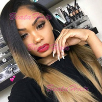 8A Soft Lace Front Hair Hair Wigs # 1B / # 27 Ombre Two Tone Color Cabelo Virginal Brasileiro Glueless Full Lace Hair Hair Wigs