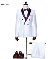 Wholesale White Silk Tuxedo Suits - Custom Made men Bridegroom Groom Wedding tuxedos slim fit men silk white shiny party dress suit (Jackets+Pants)