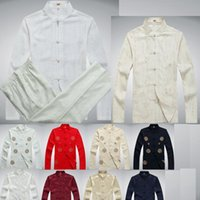 Wholesale Chi Long - Tai chi chinese style top long sleeve tang suit set chinese traditional clothes Wushu Kung fu shirt + pants Martial Arts Set Cotton linen