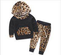 Wholesale Girls Leopard Jumpers - Fashion Kids Girls Leopard Sets Baby Girls Hooded Jumper tops with Casual Pants 2017 children's Autumn Christmas Outfits