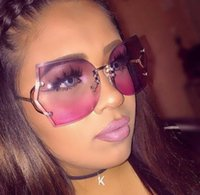 Wholesale Polygon Mirror - big rimless sunglasses women shades gold frame fashion clear gradient sun glasses for men female Polygon ladies sunglasses eyewear oculos