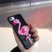 Wholesale Brick Apple - Blocks Flamingo Phone Case for iPhone 6 6s plus 7 7plus Summer Flamingo bricks 3D Embroidery Animal Fashion Hard Cover