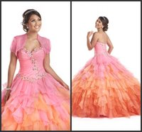 Wholesale Colourful Crystal Dress - Tiered Skirt Sweet Girls Dress Ball Gown Prom Colourful Quinceanera Dresses 2017 Customize With Jacket Lace Up Back Crystals Unqiue Design
