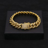 Wholesale 14mm Men Bracelet - New Hip Hop Luxury Crystal Cz Zircon Triple Lock Bracelet 14mm 7inch 8inch 9inch Cuban Link Box Clasp Bracelet Men Female Jewlery