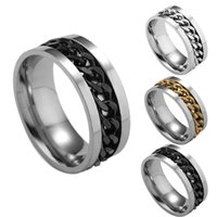 Wholesale stainless steel spin ring - Stainless Steel Removable Spin Chain Ring Nail ring Gold Chain Rings for Women Men Jewelry DROP SHIP 080172