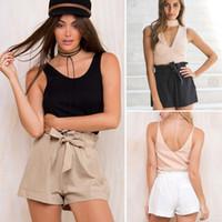 Wholesale Black High Waist Skirt Large - Summer Casual Cotton Linen Women Shorts Plus Size S-XL Pure Color Elastic Ruffle Waist Leisure Large Loose Short Trouser