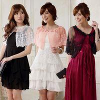 Wholesale Shoulder Shawl Party - Wholesale- F~3XL 2016 Stylish Women Fashion Wedding Crochet Lace Bead Plus Size Bolero Crop Jacket Wrap Evening Party Shoulder Shawls Capes