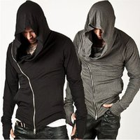 Wholesale Solid Color Hooded Cardigans - Wholesale- Fashion Assassins Creed Hooded Men Hoodies Male Causal Sportswear Outerwear Tracksuit Sweatshirt US Black Gray Size S-XL