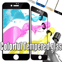 wholesale iphone tempered glass Australia - Colorful Tempered Glass Screen Protector Color Premium Plating Mirror 9H Hardness Flim Guard Protective For iPhone 8 7 Plus 6 6S SE 5 5S