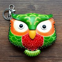 Wholesale Hand Made Leather Purses - Wholesale- 2016 New Hand Made Gift For Girls and Boys Cow Leather Cartoon Bird Shape Calf Skin Coin Purse Small Cute Owl Coin Bag C011
