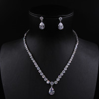 Wholesale korean bridal earrings - A set of High quality Korean bridal jewelry 3A zircon Pendant necklace and earring sets jewelry H15164