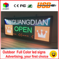 Wholesale Outdoor Full Color Led Screen - RGB full color LED sign 18''X40''  support scrolling text LED advertising screen   programmable image video outdoor LED display