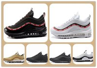 Wholesale Mens Cheap Sport Casual Shoes - cheap Maxes 97 Og Undftd Undefeated Triple white Running shoes OG Metallic Gold Silver Bullet Sports Shoes with Box Mens Woman Casual Shoes