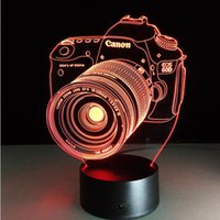 Wholesale Novelty D Acrylic Entertainment camera illusion LED Lamp USB Table Light RGB Night Light Romantic Bedside Decortion lamp