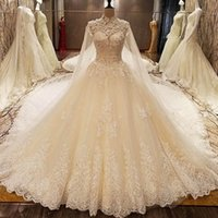 Wholesale High Collar Lace Wedding Shawl - Real Image Luxury Wedding Dresses Crystals Lace Beading Appliques Royal Train Bridal Gowns 2017 Vsetido De Novia With Shawl