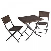Wholesale Bistro Tables - 3-Piece Table And Chairs Patio Deck Outdoor Bistro Cafe Furniture Wicker Set